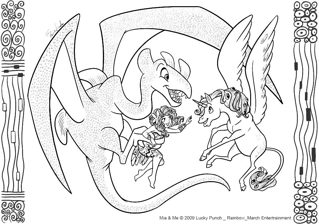 Gentil dragon avec licorne et bien sûr la fée Mia