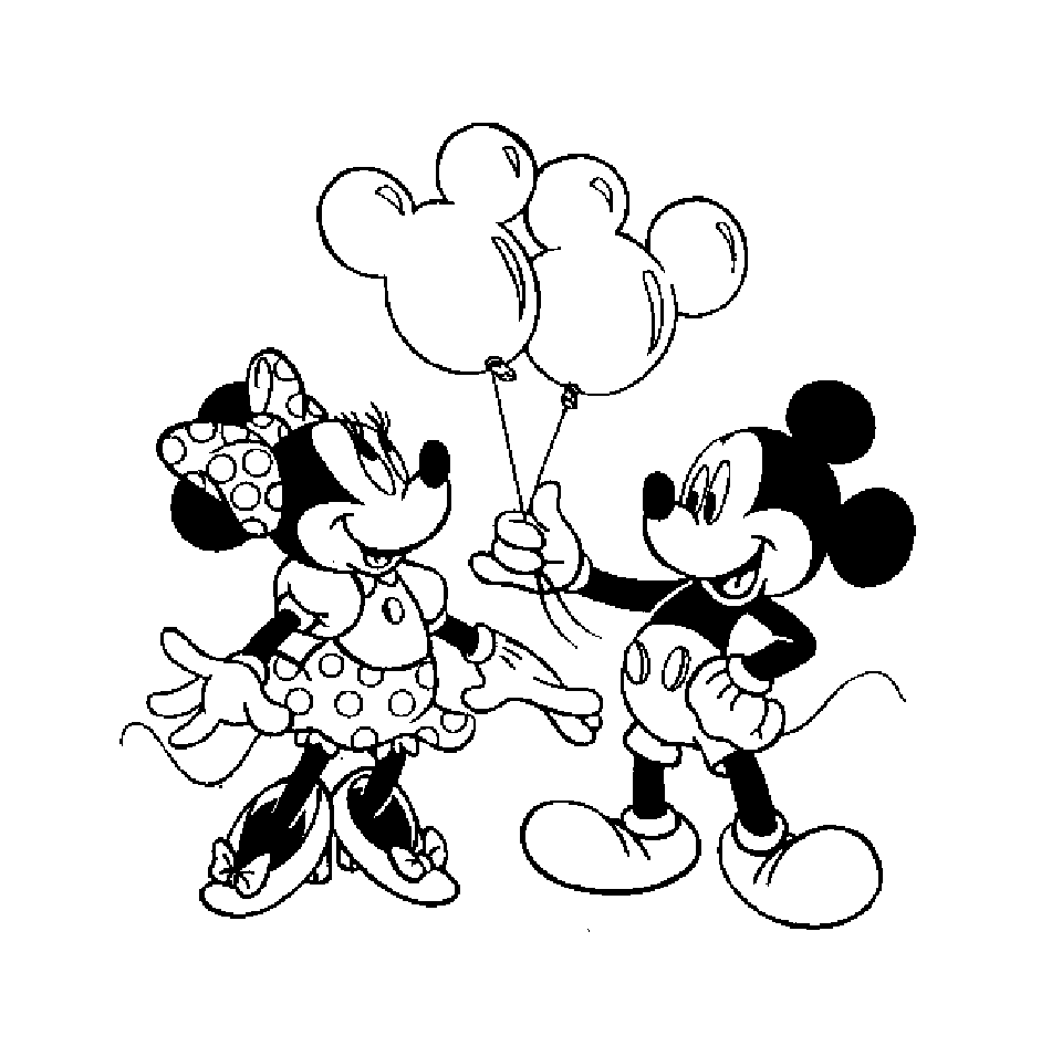 coloriage mickey minnie 2 ballons