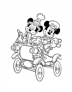 coloriage-mickey-minnie-carosse free to print