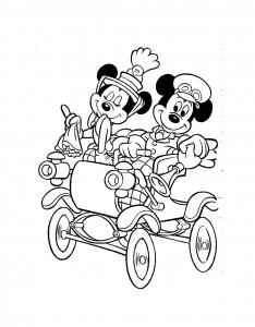 coloriage-mickey-minnie-carosse free to print