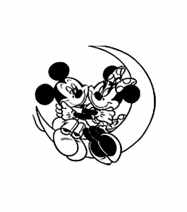 coloriage-mickey-minnie-lune free to print