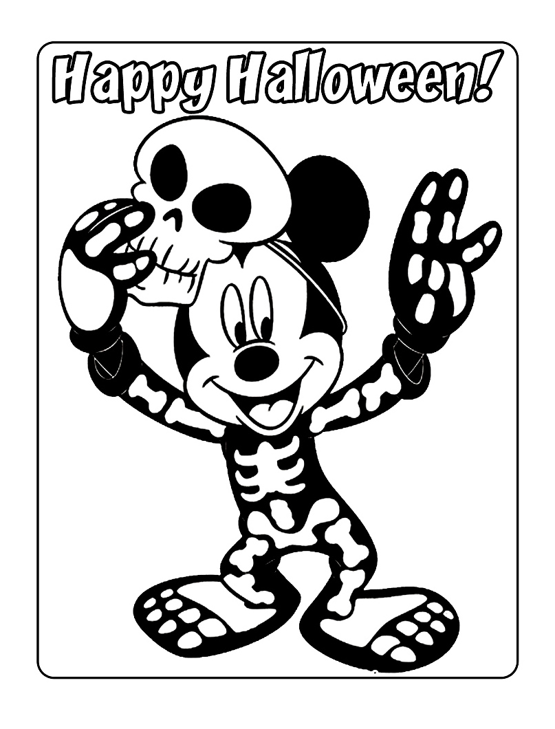 Mickey halloween coloriage mickey coloriages pour enfants - Dessin squelette halloween ...