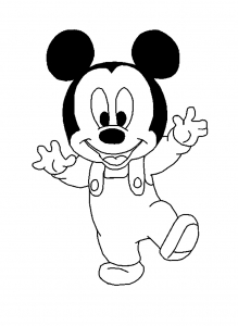 coloriage-mickey-bebe-marche free to print