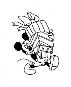 Mickey les bras chargés de cadeaux