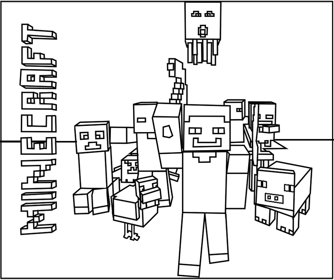 Simple coloriage de Minecraft pour enfants