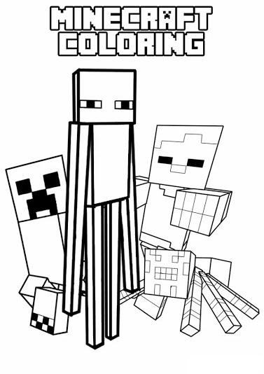 plusieurs personnages colorier de minecraft - Coloriages Gratuit
