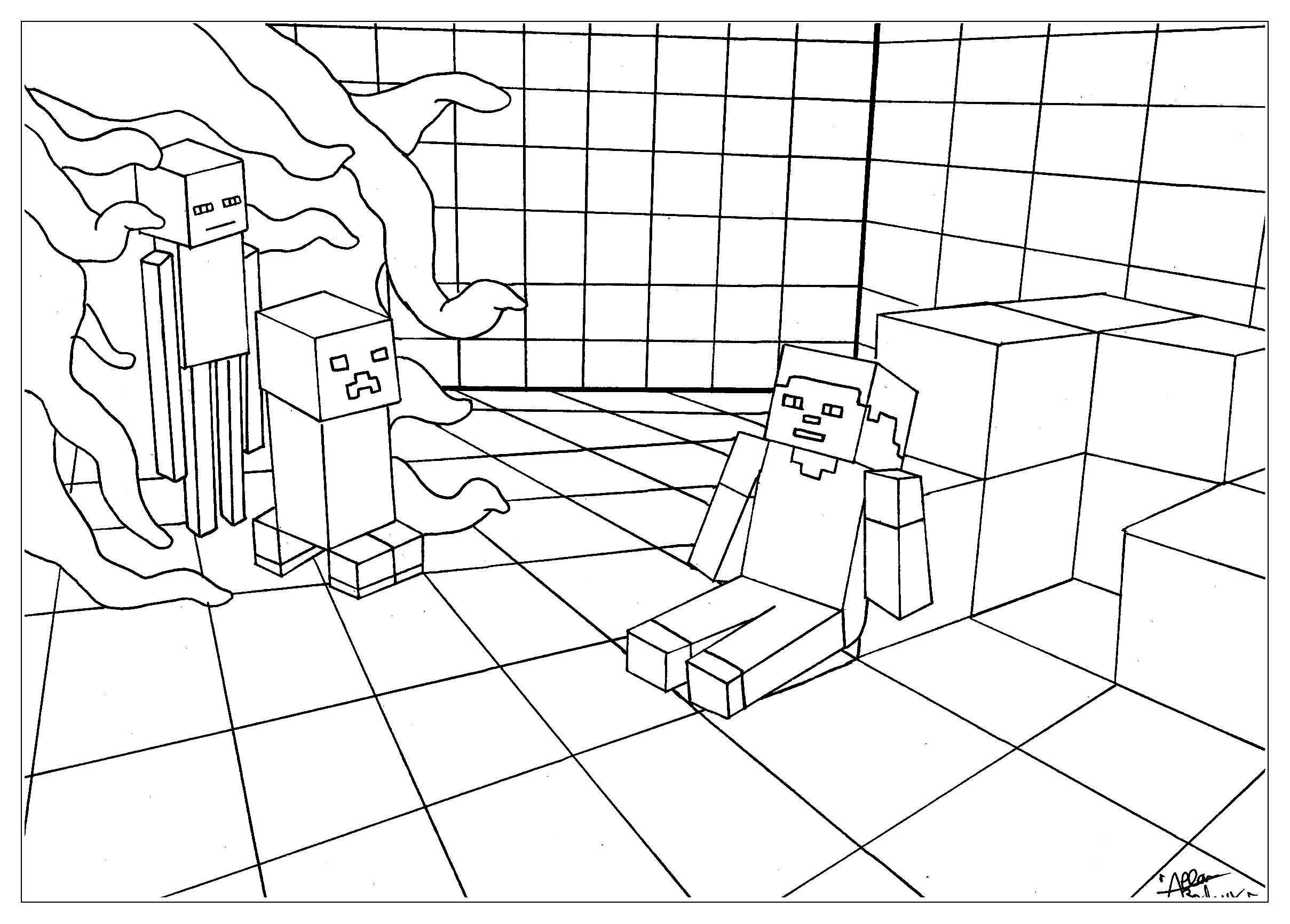 Coloriage de Minecraft gratuit à colorier - Coloriage ...