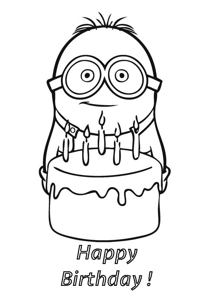 Minion happy birthday coloriage minions coloriages - Coloriage minion ...