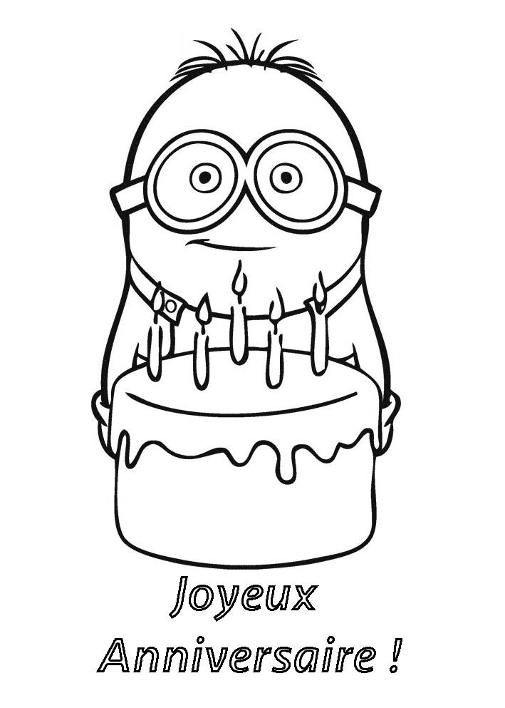 Fabuleux Minion joyeux anniversaire | Coloriage Minions - Coloriages pour  OT46