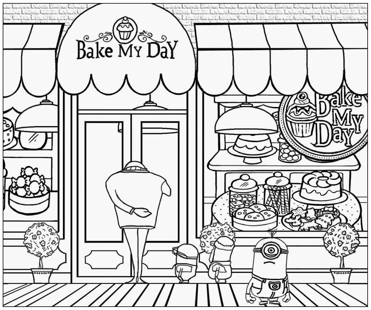 minion magasin avec gru coloriage minions coloriages pour enfants. Black Bedroom Furniture Sets. Home Design Ideas