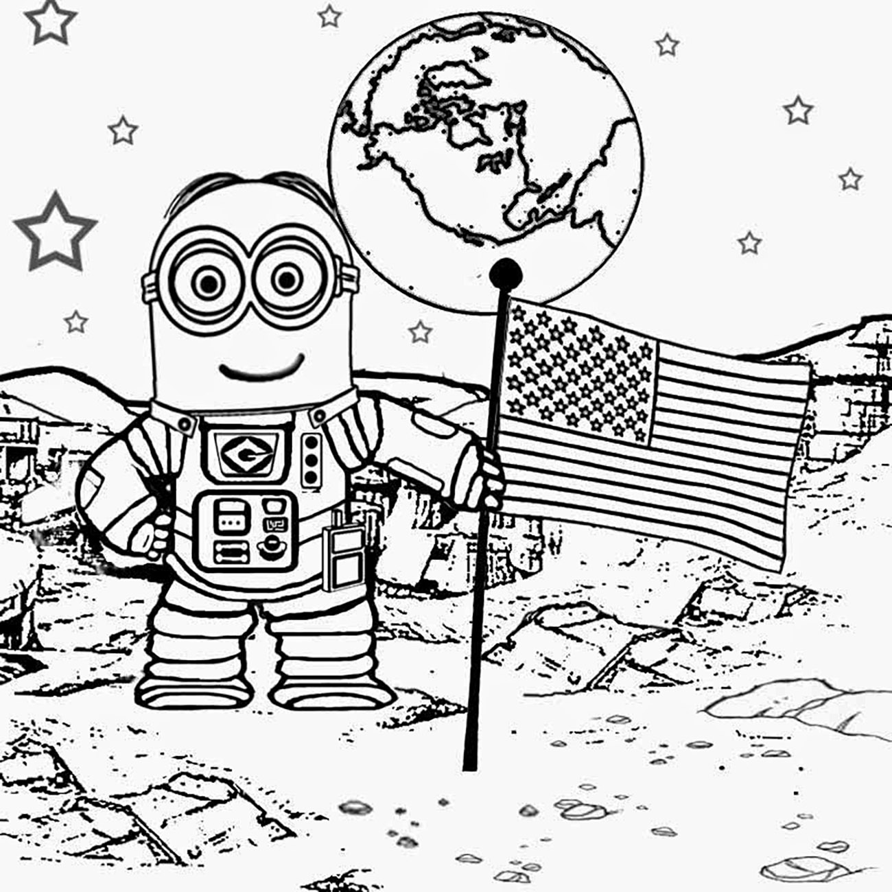 astronaut grabbing a star coloring page free printable - 800×800