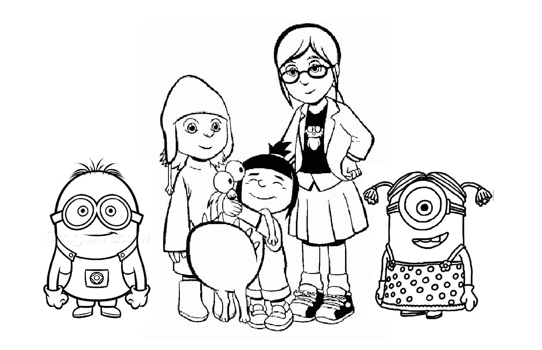 Les Minions avec les filles adoptives de Gru