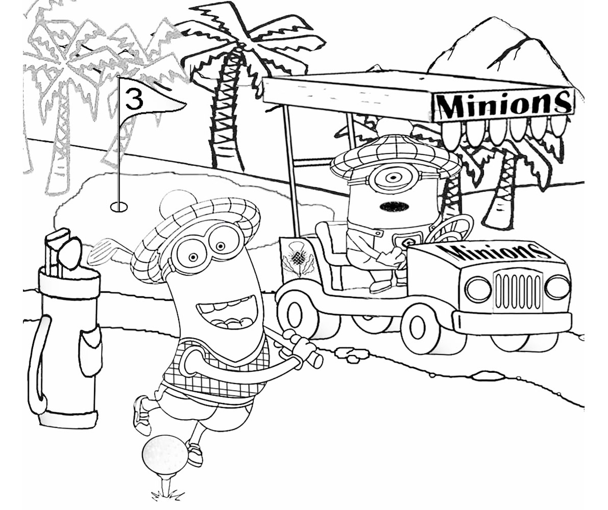 Minions jouant au golf