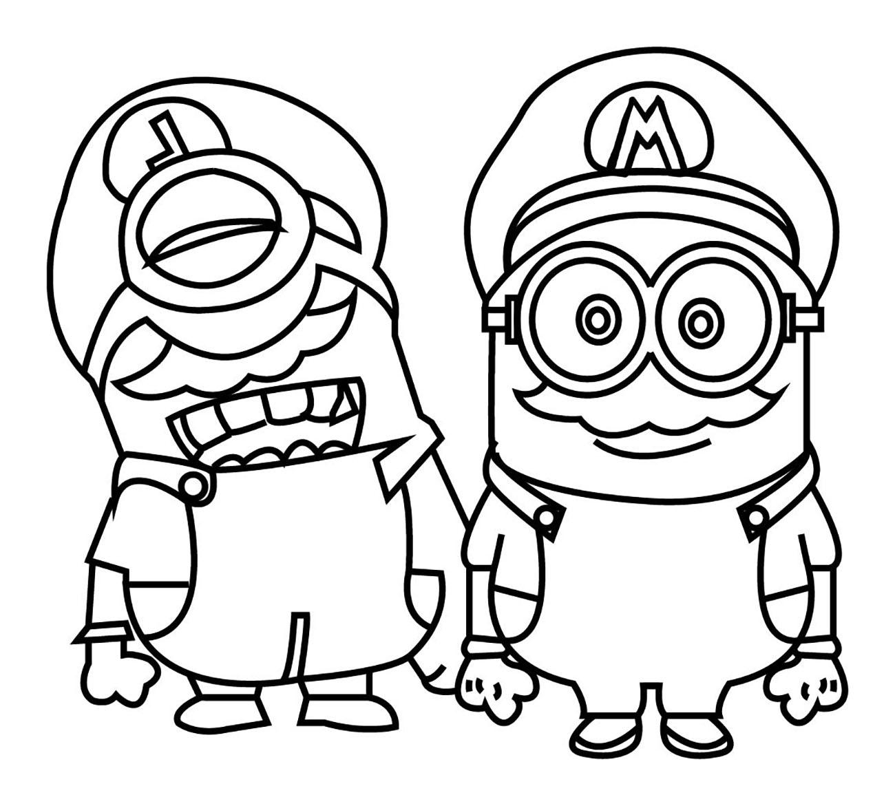 Minions mario et luigi coloriage minions coloriages pour enfants - Coloriage imprimer mario ...