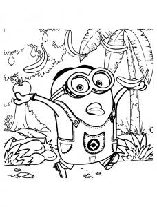 Coloriage les minions chasse aux bananes