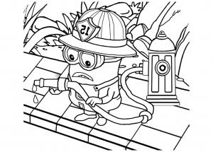 Coloriage les minions pompier
