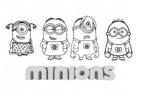 Coloriage minions a quatre avec logo