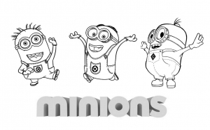 Coloriage minions a trois avec logo