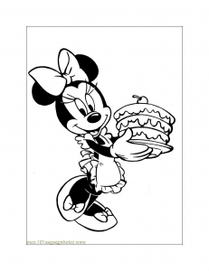 Coloriage minnie gateau