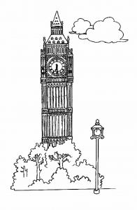 Coloriage monuments big ben