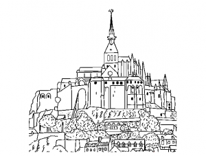 coloriage-monuments-mont-st-michel free to print