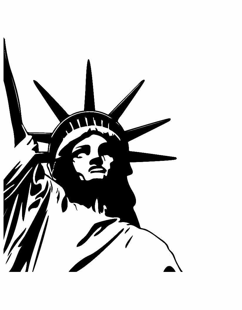 Joli coloriage de monument simple pour enfants : Statue de la liberté