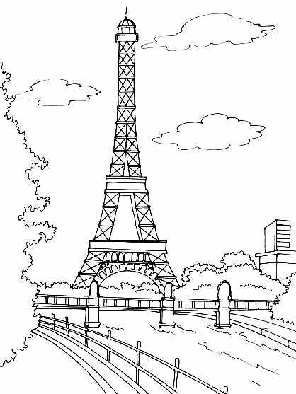 Monuments tour effel coloriage de monuments coloriages - Dessin tour eiffel a imprimer ...