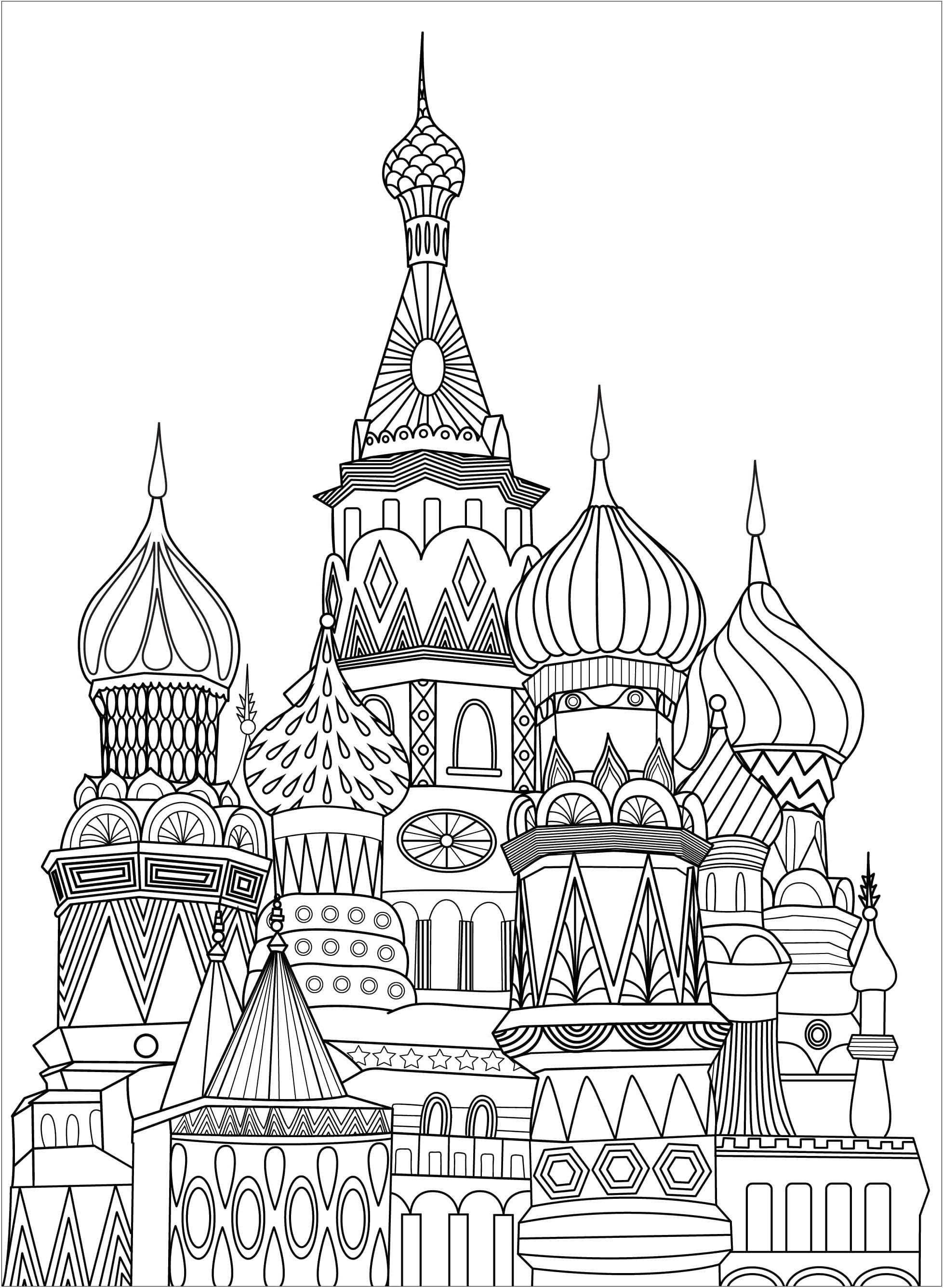 Coloriage de la fameuse Place Rouge à Moscou en Russie