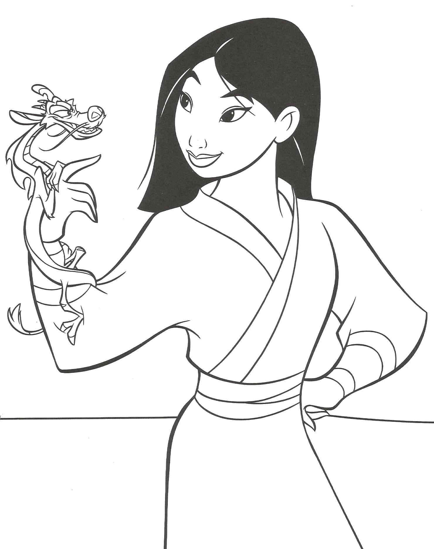 Coloriage de Mulan facile pour enfants