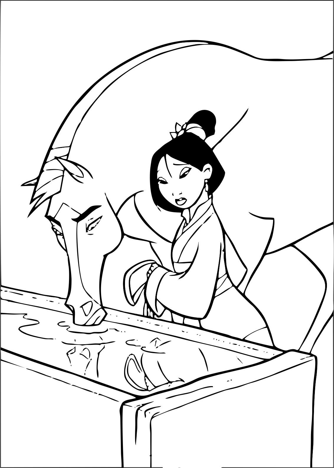Mulan 5 coloriage mulan coloriages pour enfants - Mulan coloriage ...