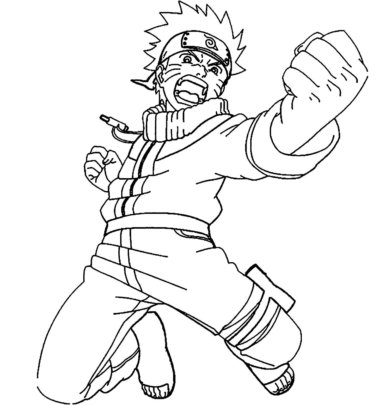 Naruto en action - Coloriage Naruto - Coloriages pour enfants