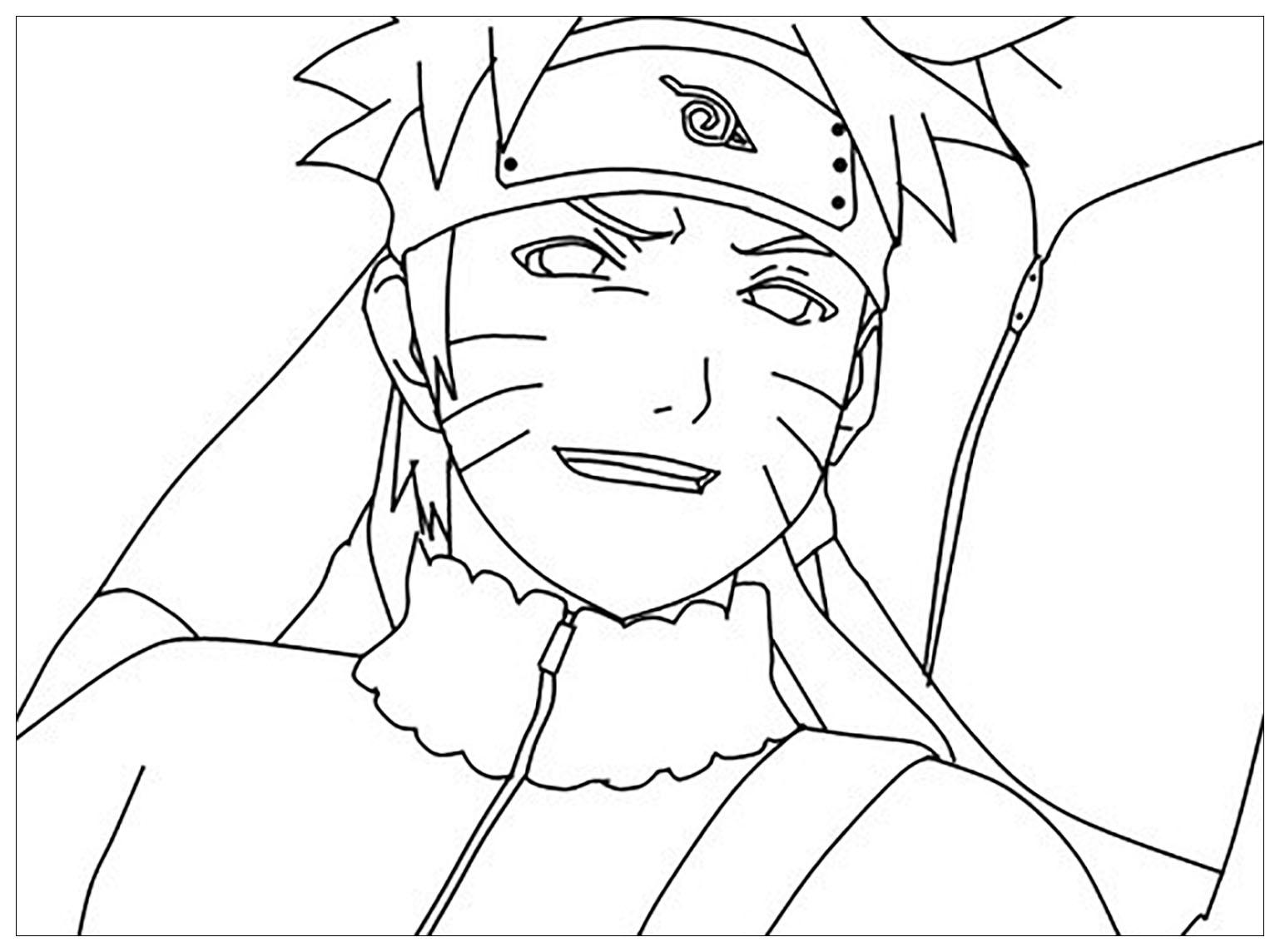 Naruto souriant - Coloriage Naruto - Coloriages pour enfants