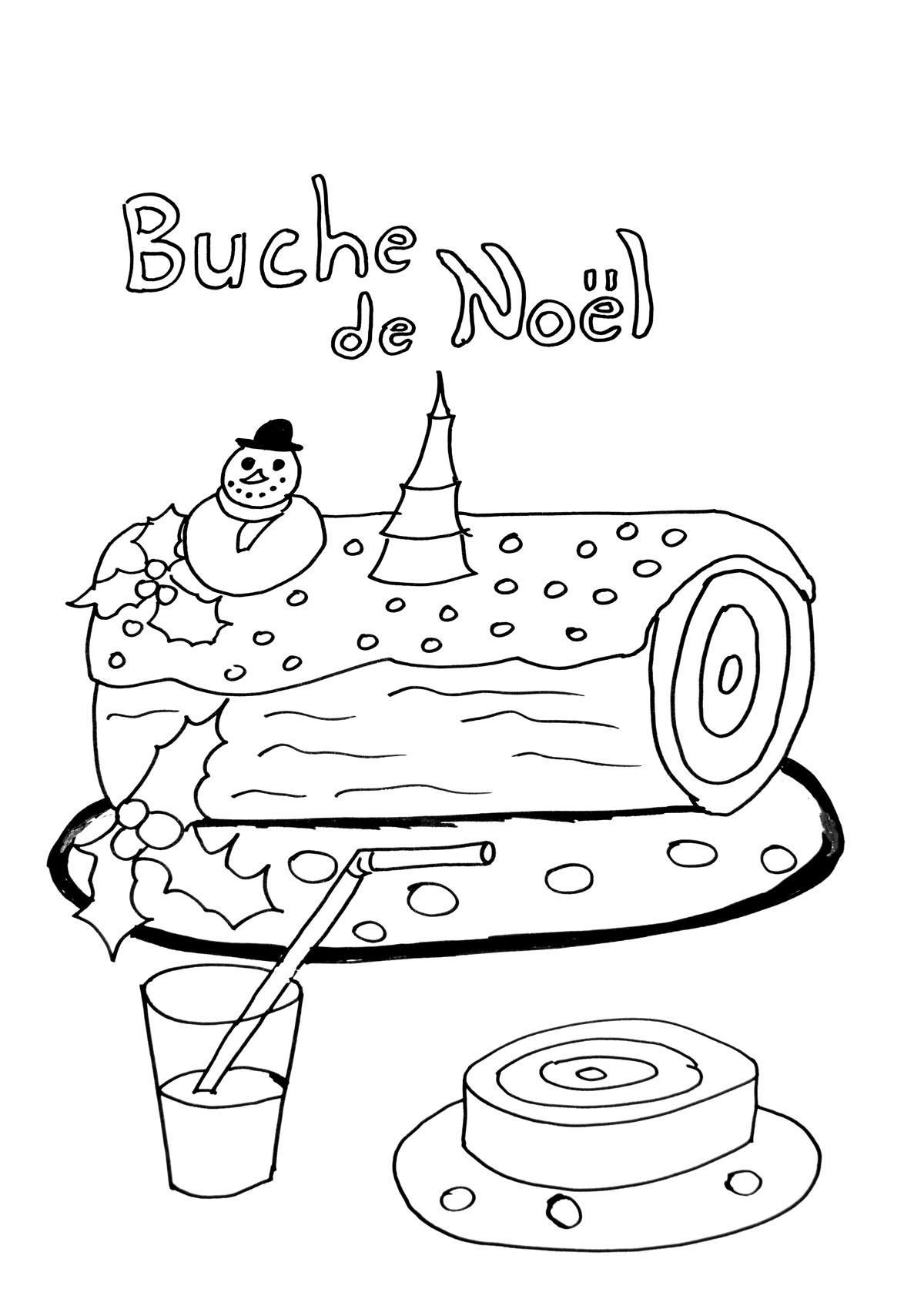 Buche de noel coloriages de no l coloriages enfants biboon - Coloriage village de noel ...