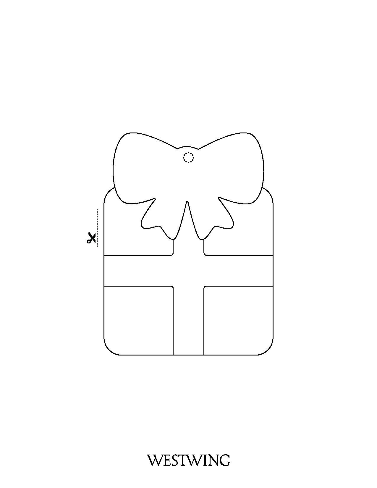 Cadeau de Noël à découper et colorier, simple pour les enfants