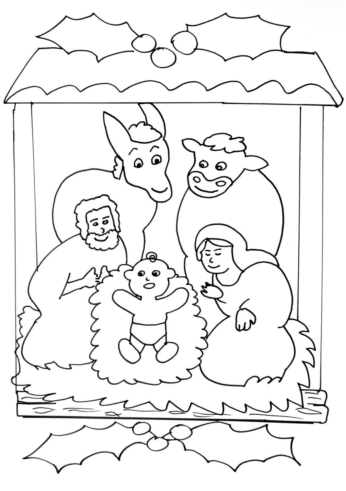 Image de la Crèche de la Nativité à imprimer et colorierA partir de la galerie : Noel
