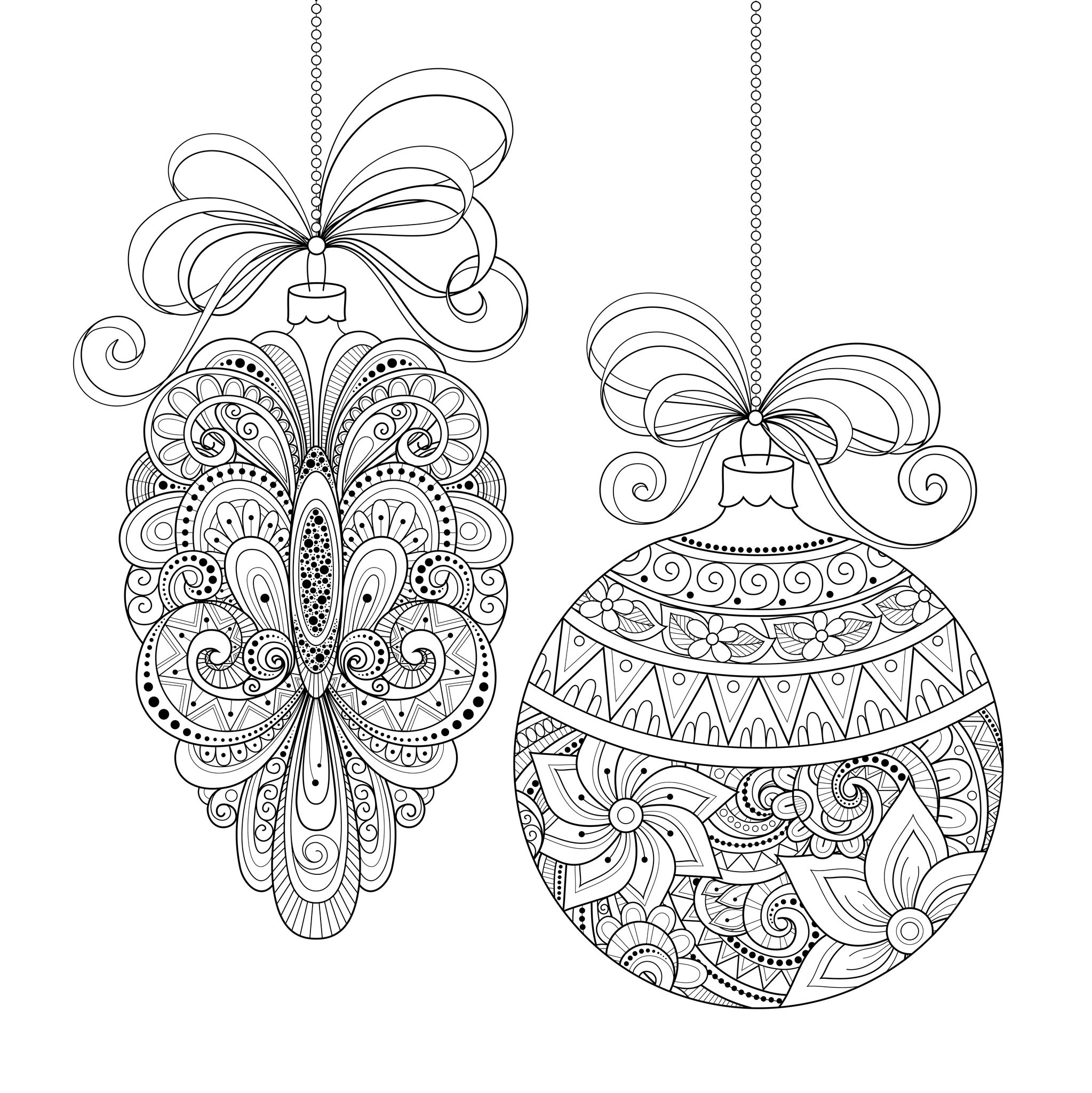 48006340 - vector ornate monochrome christmas decorations. patterned objects for greeting cards, holiday greetings. new year and christmas templateA partir de la galerie : Noel