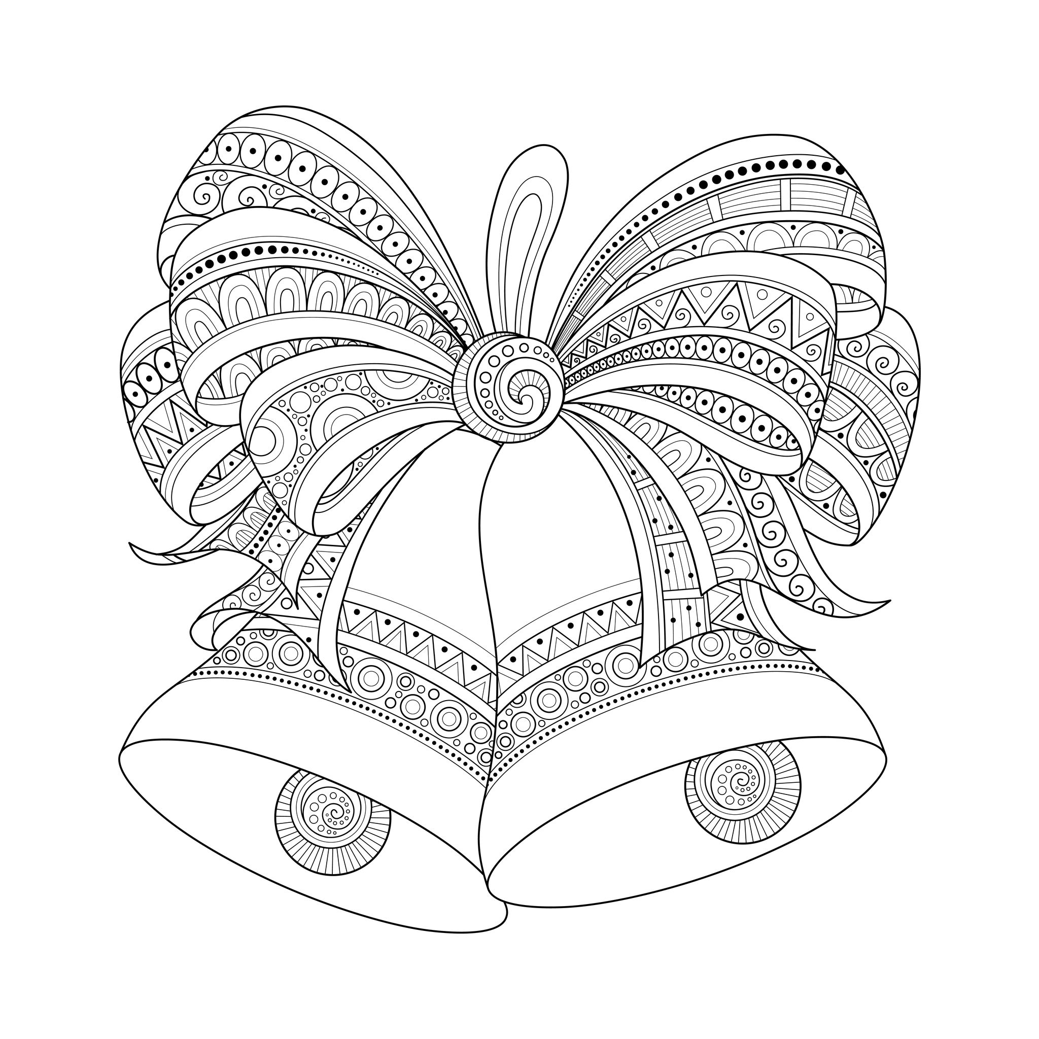 48433033 - ornate monochrome christmas golden bells with red bow. patterned objects for coloring books. new year and christmas template | A partir de la galerie : Noel