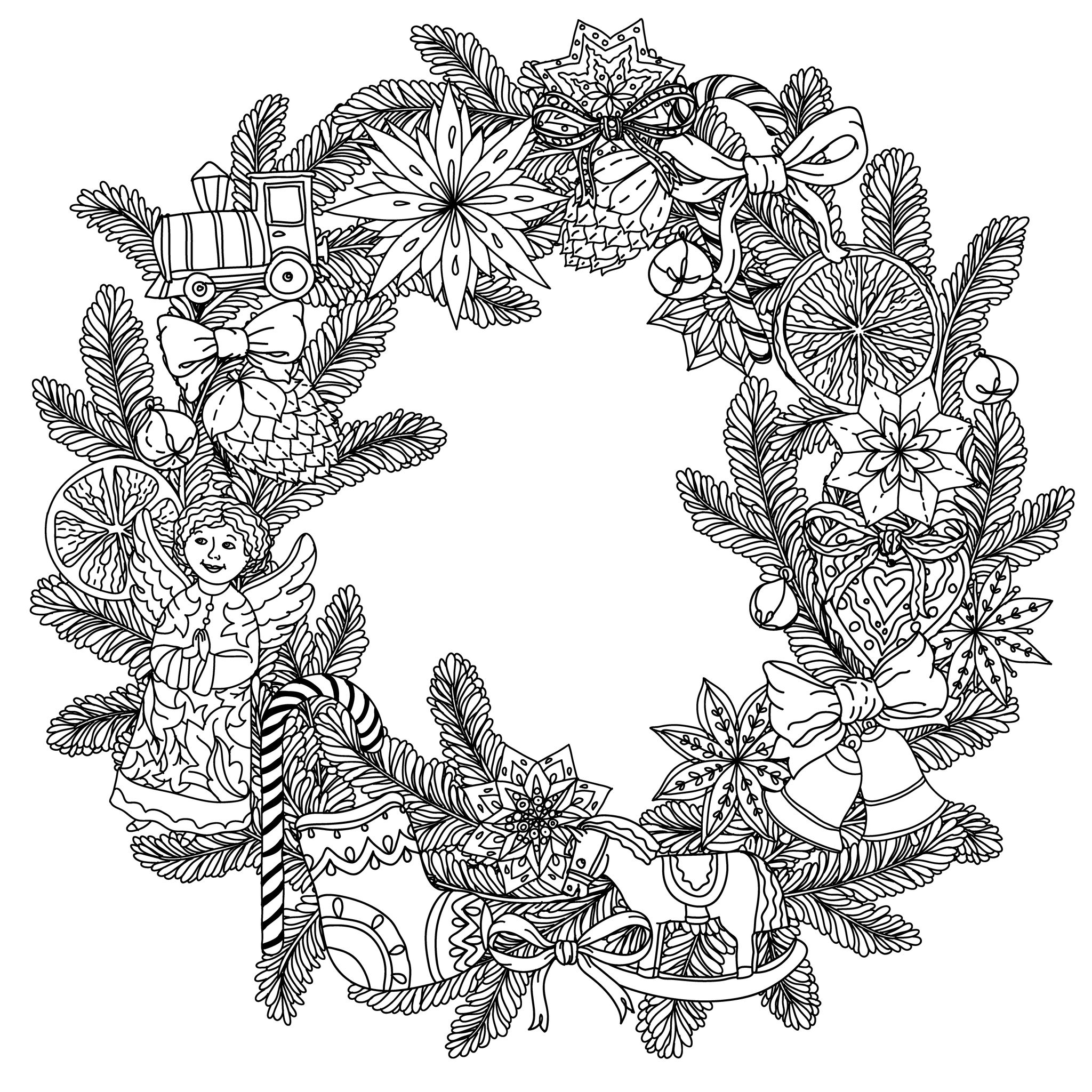 49525223 - christmas wreath with decorative items, black and white. the best for your design, textiles, posters, coloring bookA partir de la galerie : Noel