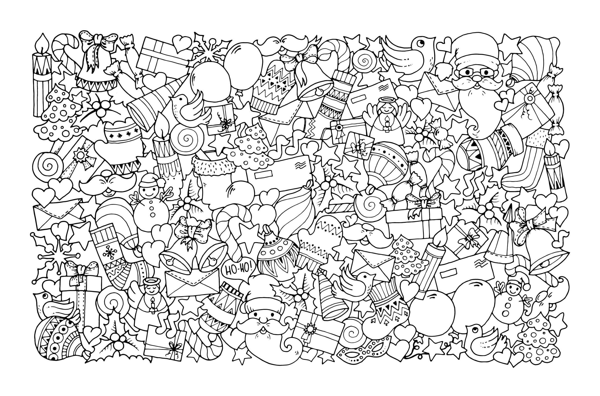50559284 - christmas theme. doodle background with balloon, bells, sweets, christmas socks, gift, mittens, envelope, letter, tree, star, candle, bird, snowman, ball, bow, heart and santa claus. ethnic ornaments.A partir de la galerie : Noel