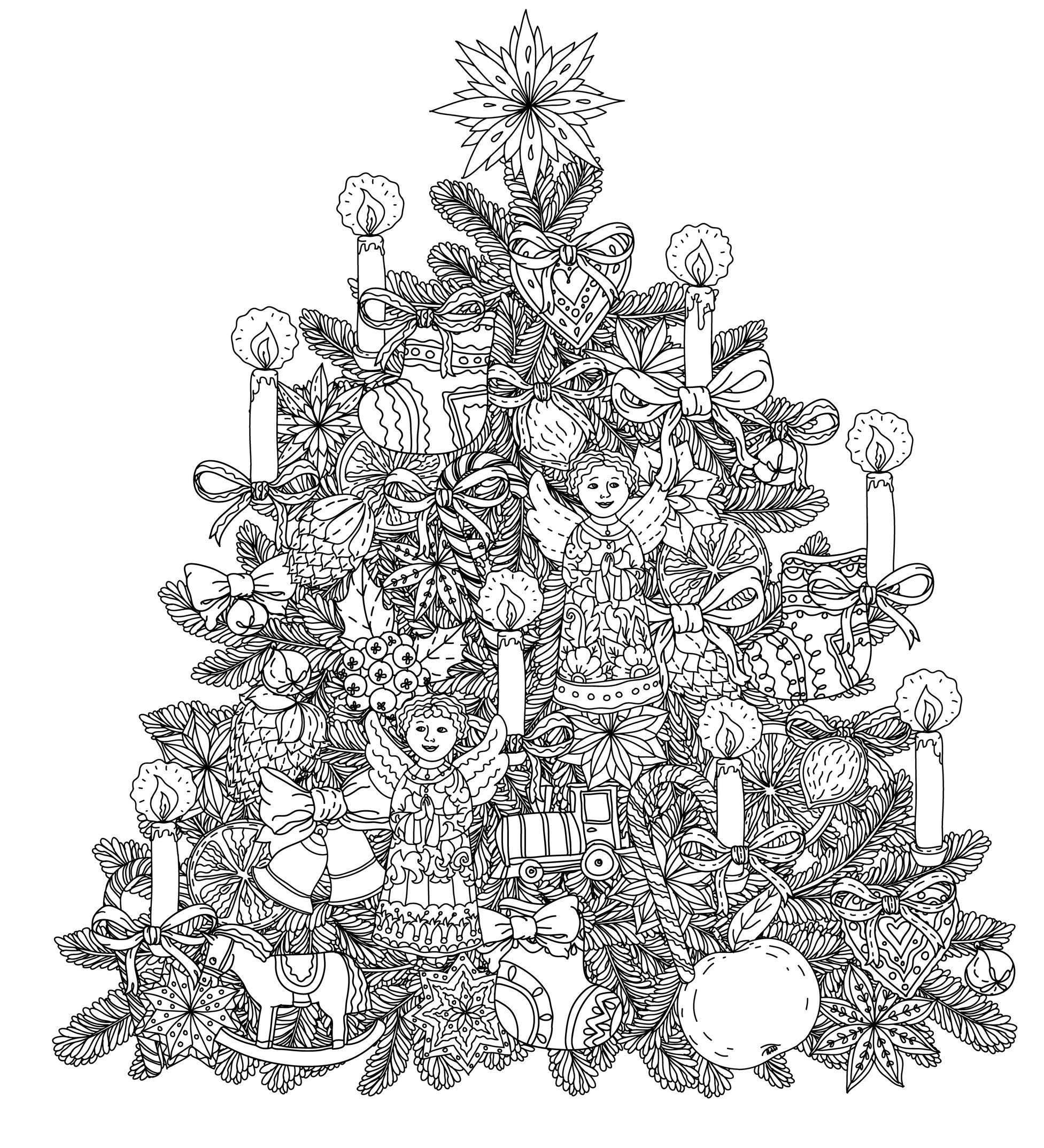 49525666 - christmas tree ornament with decorative items, black and white. the best for your design, textiles, posters, coloring bookA partir de la galerie : Noel