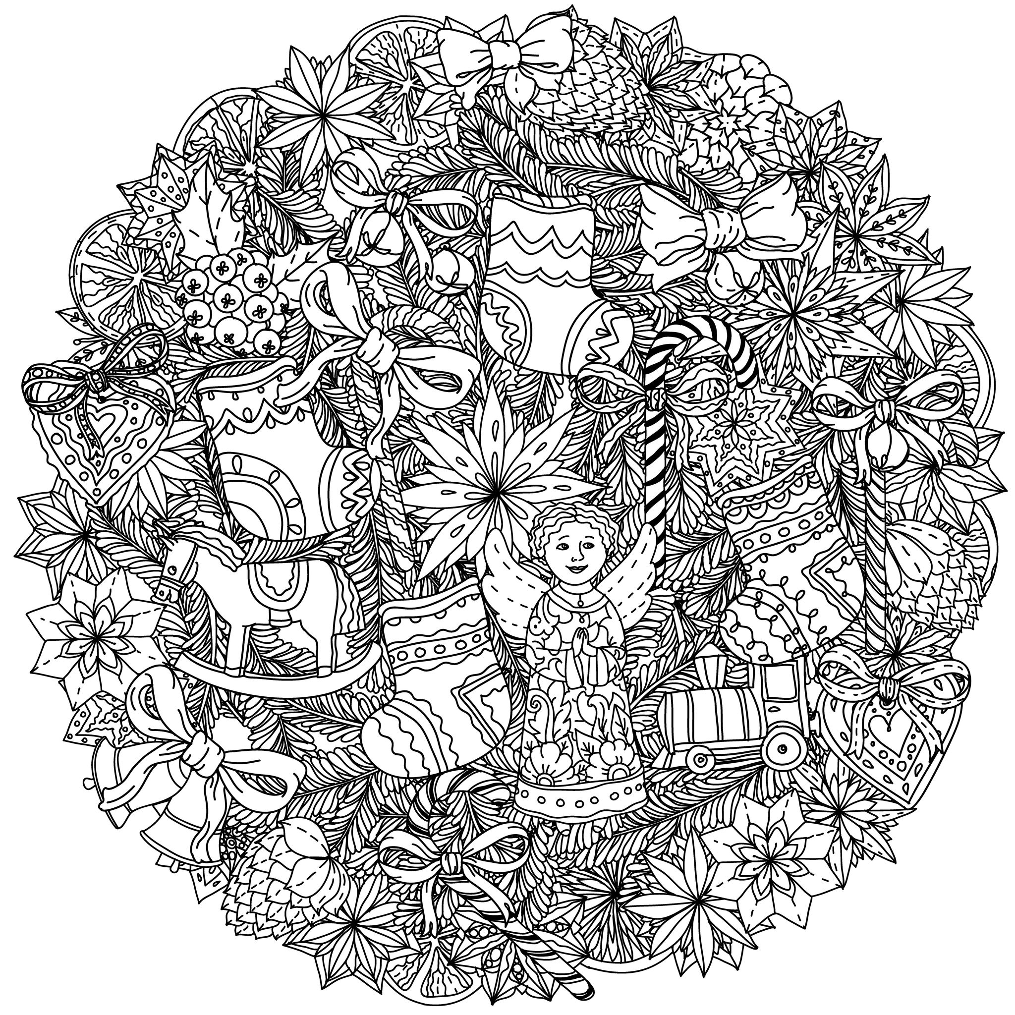 49525227 - christmas wreath with decorative items, black and white . the best for your design, textiles, posters, coloring book | A partir de la galerie : Noel