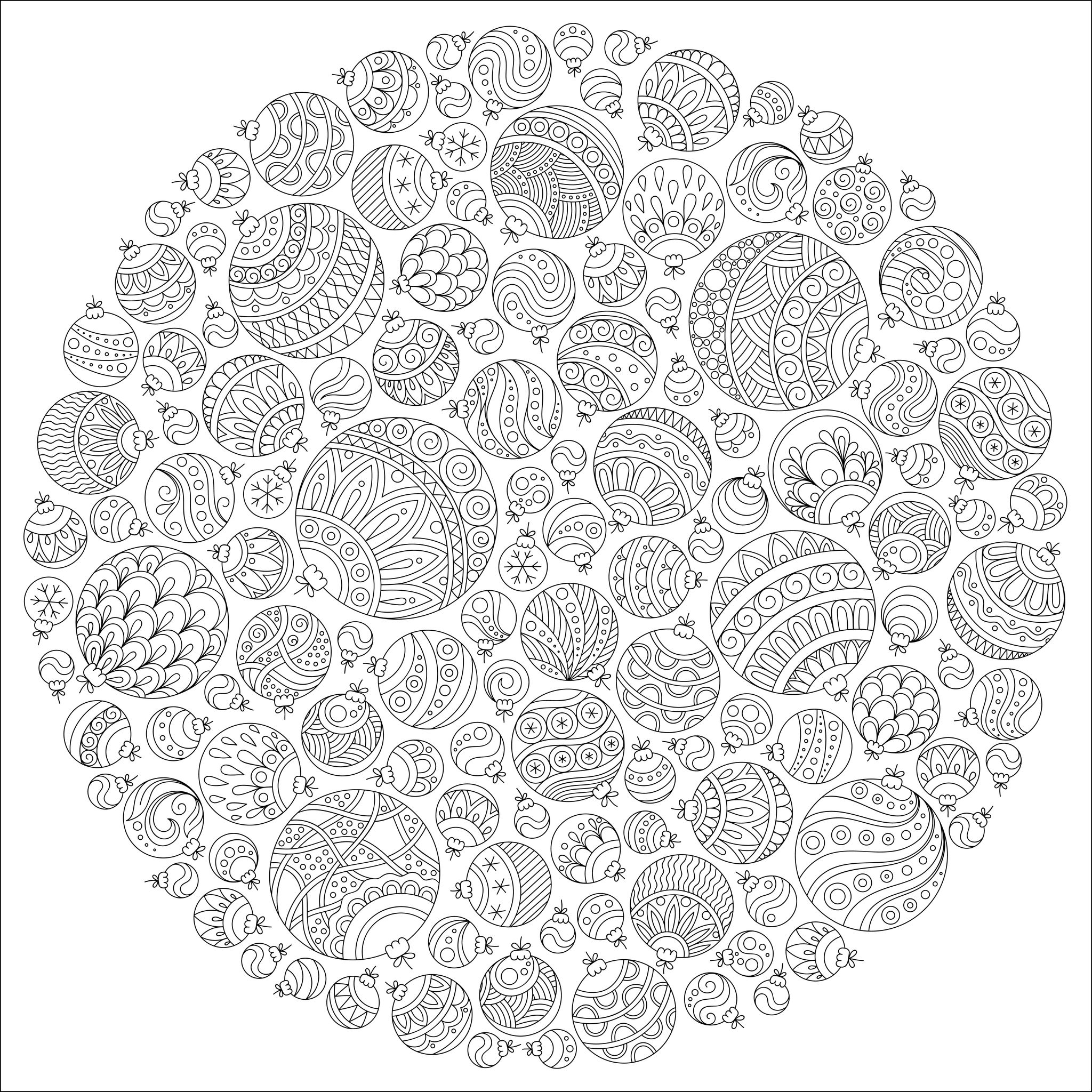 47952727 - pattern for coloring book. christmas hand-drawn decorative elements in vector. fancy christmas ball from balls . pattern for coloring book. black and white pattern.A partir de la galerie : Noel