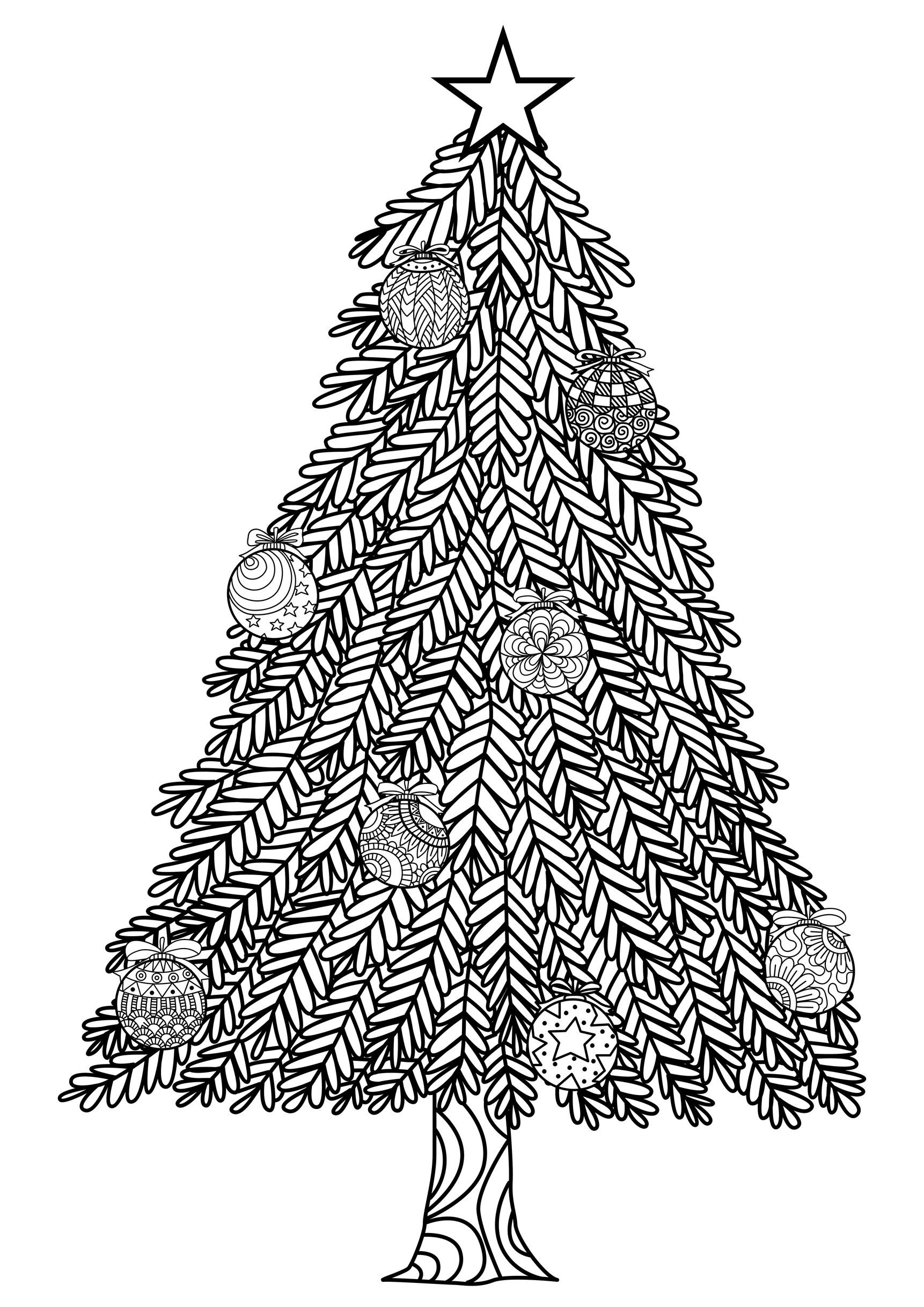 48246496 - hand drawn christmas tree zentangle style with christmas balls and gift boxes.A partir de la galerie : Noel