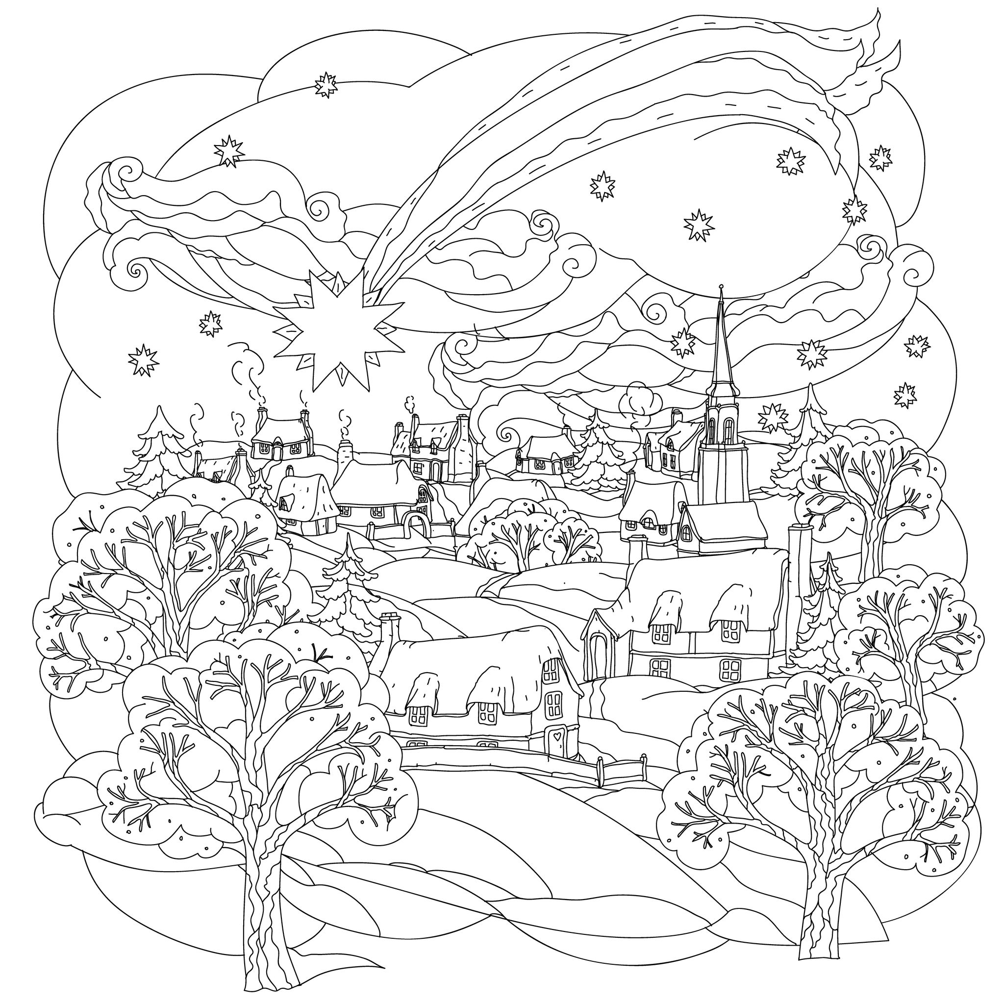 Noel village coloriages de no l coloriages enfants biboon - Coloriage village de noel ...