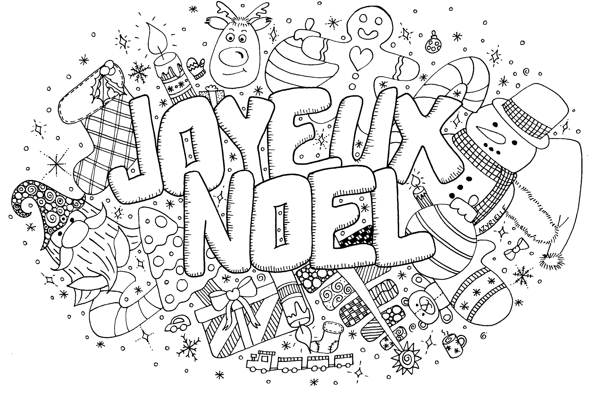 Doodle noel coloriages de no l coloriages pour enfants - Dessin joyeux noel ...