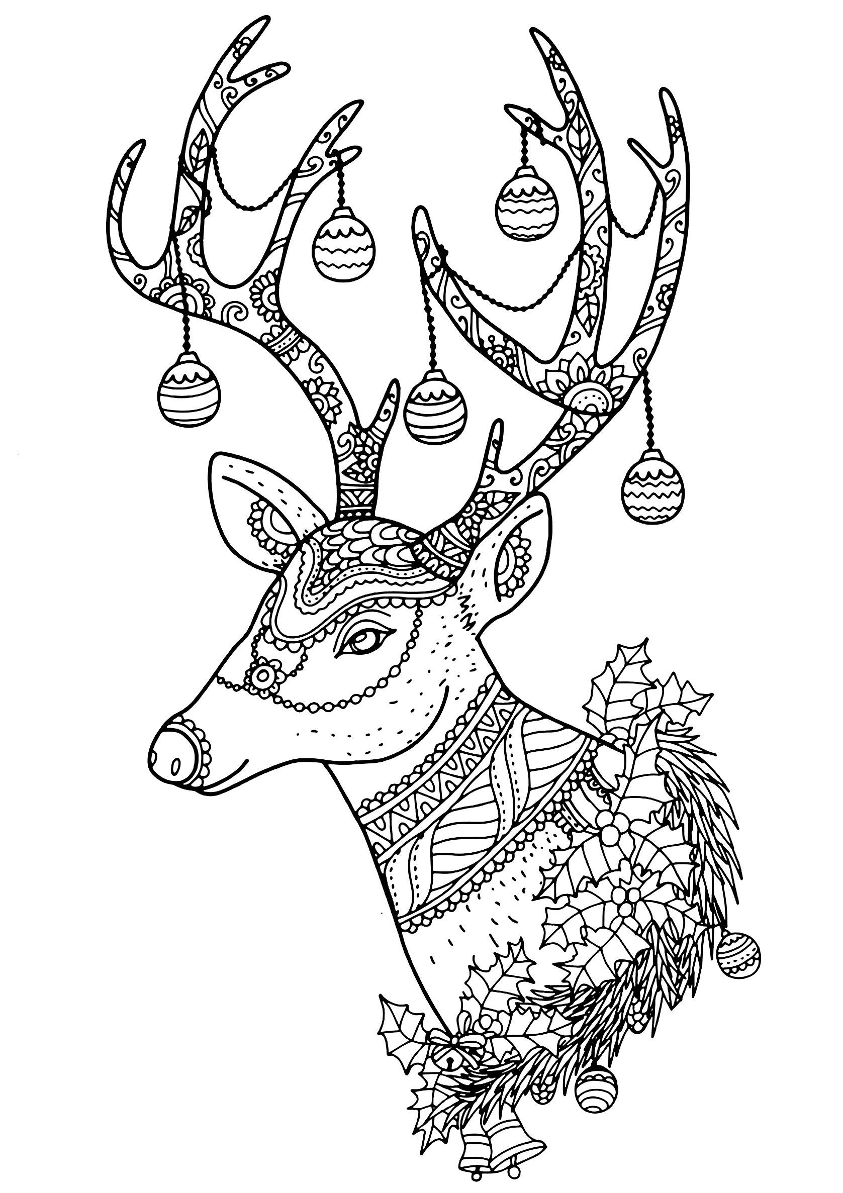 Renne noel nontachai hengtragool   Coloriages de Noël   Coloriages