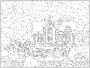 Coloriage avec nombreux détails : Père Noël et son traineau