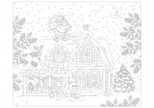 Coloriage avec nombreux détails : Père Noël et sa hotte