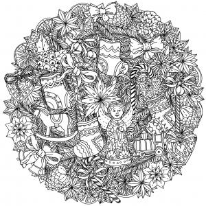 Coloriage noel mandala