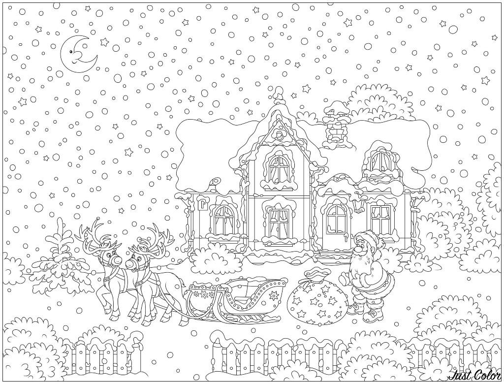 Coloriage Avec Nombreux Détails Père Noël Et Son Traineau